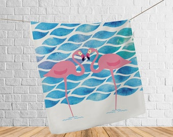 Soft printed fleece blanket, Adult Blanket, Blanket, Pink Flamingo blanket, blanket throw, Adult fleece blanket, Adult blankets, Bedding