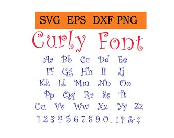 Curly Font alphabet in SVG / Eps / Dxf / Jpg files INSTANT DOWNLOAD!