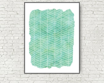 Large Abstract Art Print Blue Green Ocean Colors Beach art Herringbone 11x14 and 16x20 digital art print instant download wall art printable
