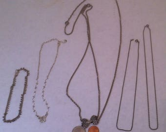 5 Vintage Silver Colored Necklaces, Vintage Classic Costume Jewelry, Necklaces, Choker, Bracelet, All Silver Colored, 5 Necklaces, Chains