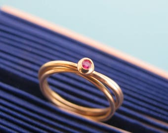 3 Band Ring, Ruby Ring, Gold Ruby Ring, Three Ring, Intertwined Rings, Ruby Rings For Women, Interlocking Rings, Trinity Ring, Triple Ring
