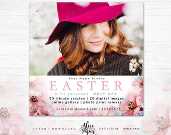 Easter Mini Sessions Template, Easter Mini Session, Easter Marketing Board, Easter Template, Photography Marketing, Spring Template