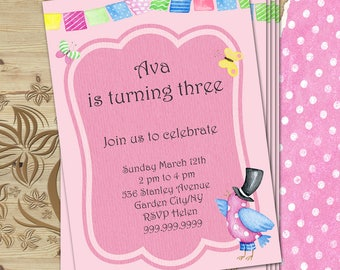 Custom girl invitation card Custom invite Girl invite Girl birthday invite Baby girl invite Kids invitation Any name invite Any age invite