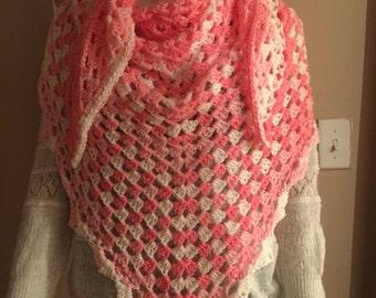 Crochet all season shawl, soft shawl, beautiful shades of pink and white