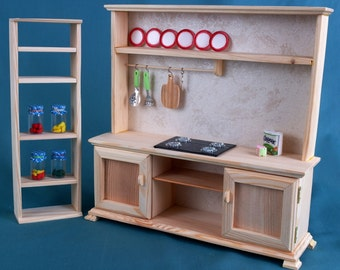 """KITCHEN Set Dollhouse wooden Furniture 1:6 scale 12"""" dolls Barbie Brats Momoko EAH miniature accessories role-playing games toys Girls gift"""