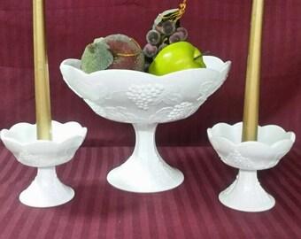 Milk glass pedestal fruit bowl and candle holders.  3 piece set , grape design