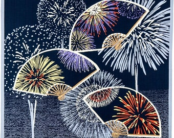 Hamamonyo Furoshiki Wrap Cloth Fan-shaped Fireworks