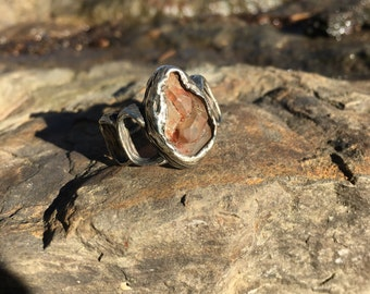 Cast White Bronze Ring with Tangerine Quartz