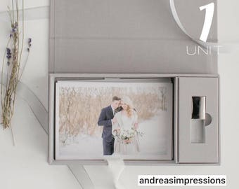 Grey 4x6 proof and USB boxes / Linen photo box / Linen box / Photo box / proof box / Photographers packaging