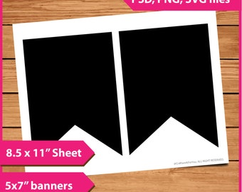 "Banner Layer Template Instant Download PSD, PNG and SVG Formats  8.5x11"" Digital  Make Your Own Diy sticker Printable layer template"