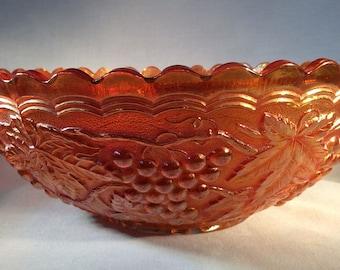 Large Vintage Marigold Carnival Glass Bowl with Grape Design