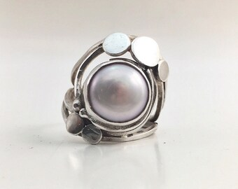 Ring Pink White Pearl pink white silver pearl solid sterling Silver 925 thousandth size euro 53 size us 6.25 swiss 13