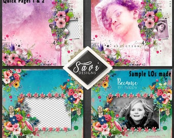 Digital Scrapbooking QUICK PAGES 1 & 2 created using Watercolour my day Kit premade Page to make immediate scrap page
