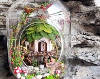 DIY Fairy Doll House/Fairy House/Tree House/Terrarium DIY Kit Set/Elf Gnome House in Glass Jar Enchanted Fairy Garden