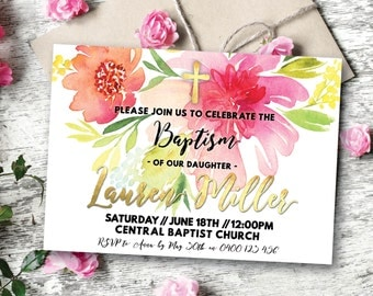 Floral baptism invitation, baptism invitation, boho christening invitation, christening invitation, dedication, dedication ceremony (Lauren)