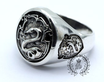 Slytherin ring,New design,Harry Potter ring,, Sterling Silver 92.5%.