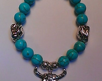 men's turquoise elastic bracelet, with bull skull and silver nuggets