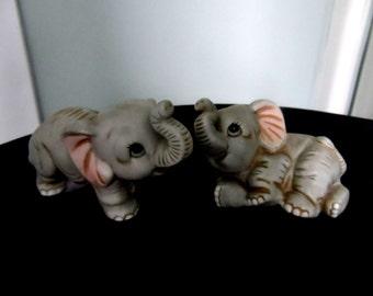 Pair Vintage Homco Elephant Figurines 1400    731