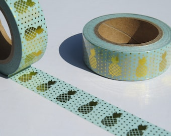 Mint Green Washi Tape with Gold Foil Pineapple Design