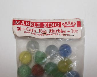 Vintage Marbles, Marble King Bag Of Cat's Eye Marbles
