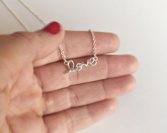 Love and Hope necklace in silver, silver plated necklace
