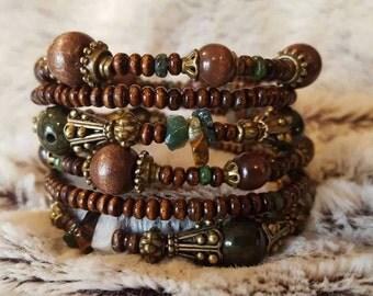 Green Man~ Beaded Memory Coil Wrap Bracelet