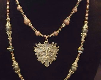 Green Man~ Beaded Necklace Set 2 Pc- Morganite Stones, Jasper and Wood Beads