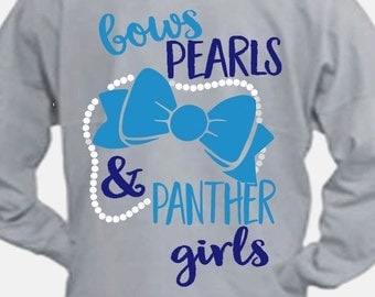 Bows, Pearls and PANTHER Girls svg, Panthers SVG, panther Clip art, southern svg, Digital Download,Cut File, Cricut, commercial use ok