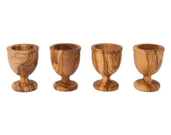 Olive wood 4 egg cups