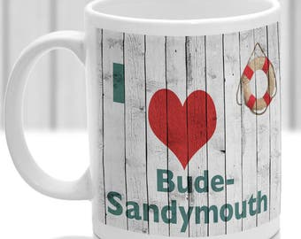 Bude-sandymouth mug, Gift to remember Cornwall, Ideal present,custom design.