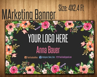 4ft x 2.4ft Banner Design - Consultant Sign - Yard Sign - Pop Up Boutiqoe