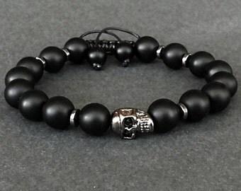 Skull Bracelet, Stainless Steel Skull Bracelet, Skull Bracelet Men, Mens Skull, Men's Black Onyx Bracelet Skull, Gemstone Bracelet Gift