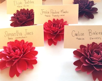 Place Card Holders | Red Paper Flowers-Dahlias (Set of 12)