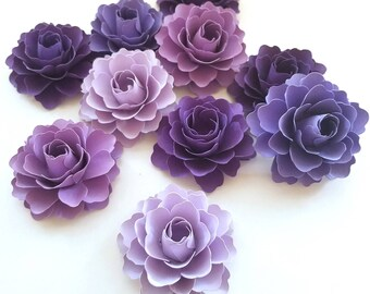 Purple Paper Flowers | Purple Wedding Decorations | Set of 50