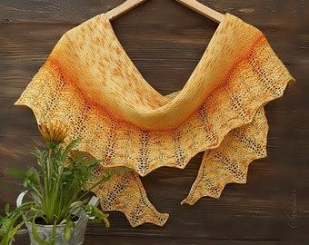 Knitted semi-circular shawl, oversized lace shawl, extra fine merino wool shawl Sunny shawl