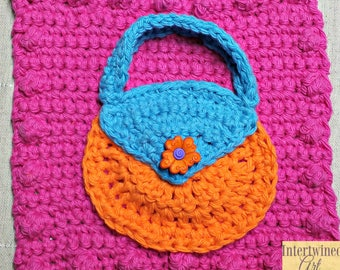 Crochet Purse Applique Granny Square PATTERN: Like a BOSS Blanket Series pdf instant digital download