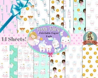 Tooth Fairy Printable Paper Pack | 14 Sheets | Teeth, Tooth Fairy Paper, Tooth Fairy Scrapbook Paper, Tooth Fairy Letter, Tooth Fairy Note