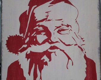 12x12 Santa sign painted and distressed