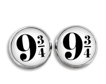 Platform 9 3/4 Stud Earrings Platform Nine and Three-Quarters Earrings Harry Potter Fan Earrings Fangirl Fanboy