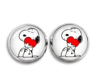 Snoopy hugging Heart Stud Earrings Snoopy Jewelry Geeky Fangirl Fanboy