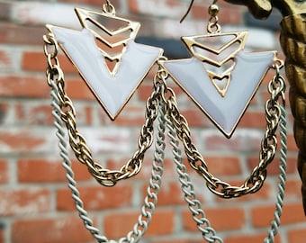 Gorgeous Gold geometric white enamel arrow chain chandelier earrings