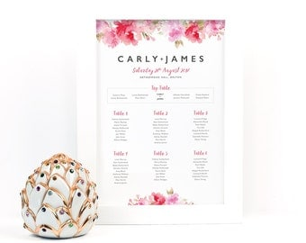 Rosey Posey Wedding Seating Table Plan Chart. Personalised. Take Your Seat. Your Special Day. A4, A3, A2, A1