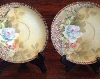 "Pair of  Unusual Vintage Porcelain Plates/Saucers 5 5/8"" diamwith Rose and Trellis Design"