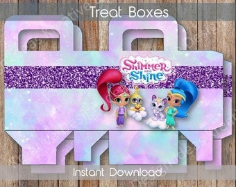 Shimmer and Shine Treat Boxes Bottle Labels or Stickers Shimmer and Shie Party Printables Theme Birthday Party - INSTANT DOWNLOAD