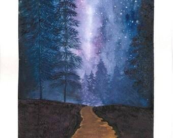 Starry Road Watercolor Art Print Purple Blue Woods Dirt Road Gift Home Decor Wall Art Stars Night Sky Northern Lights