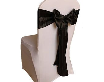 """7""""X108"""" Black Satin Sashes Chair Cover Bow Sash WIDER FULLER BOWS Wedding Party"""