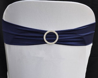 Navy Blue Elasticity Stretch Chair cover Band with Buckle Slider Sashes Bow Decor