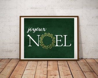 Holiday Decor - Joyeux Noel - Wall Art - Digital Print - Christmas Decor - Christmas Printable