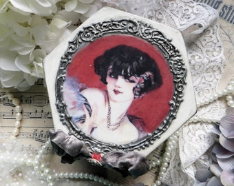 Jewelry box, decoupage box with flapper girl,  flappers, roaring twenties, Great Gatsby,  playful jewellery box, handmade gifts, red, silver