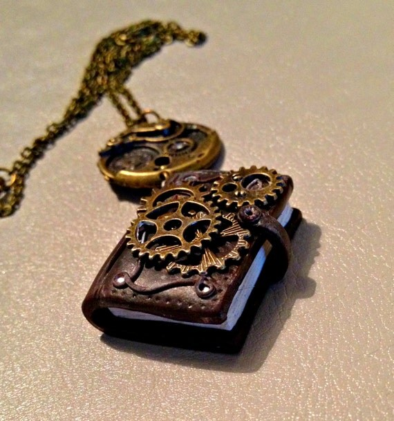 Steampunk book pendant in polymer clay,miniatures,steampunk ,sculptures in polymer clay,gift for Christmas